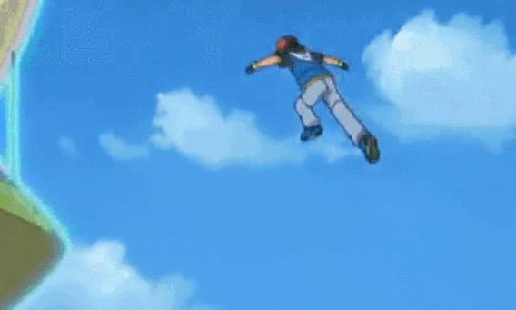 凄まじい高さのジャンプを見せるサトシ